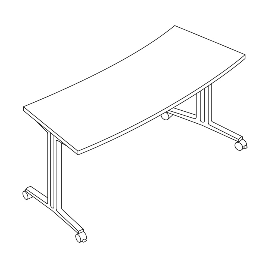 A line drawing of an Everywhere Classroom Curve Table.