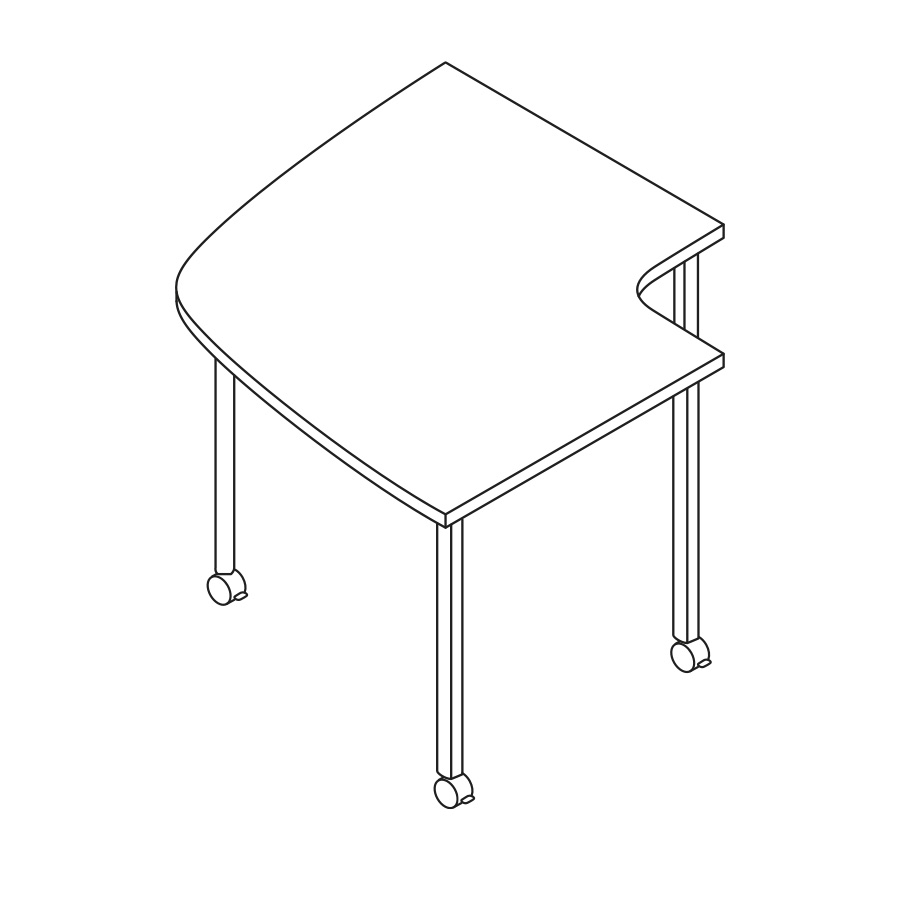 A line drawing of an Everywhere Conference Corner Table.