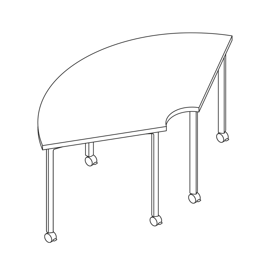 A line drawing of an Everywhere Round Corner Table.