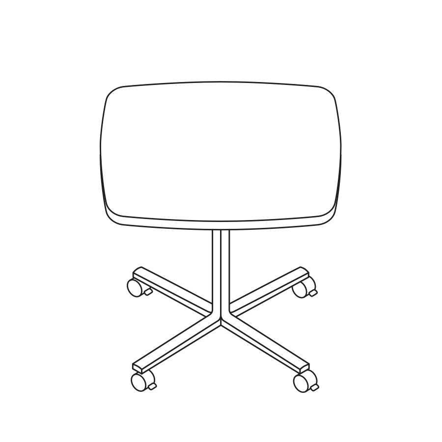 A line drawing of an Everywhere Soft Square Table.