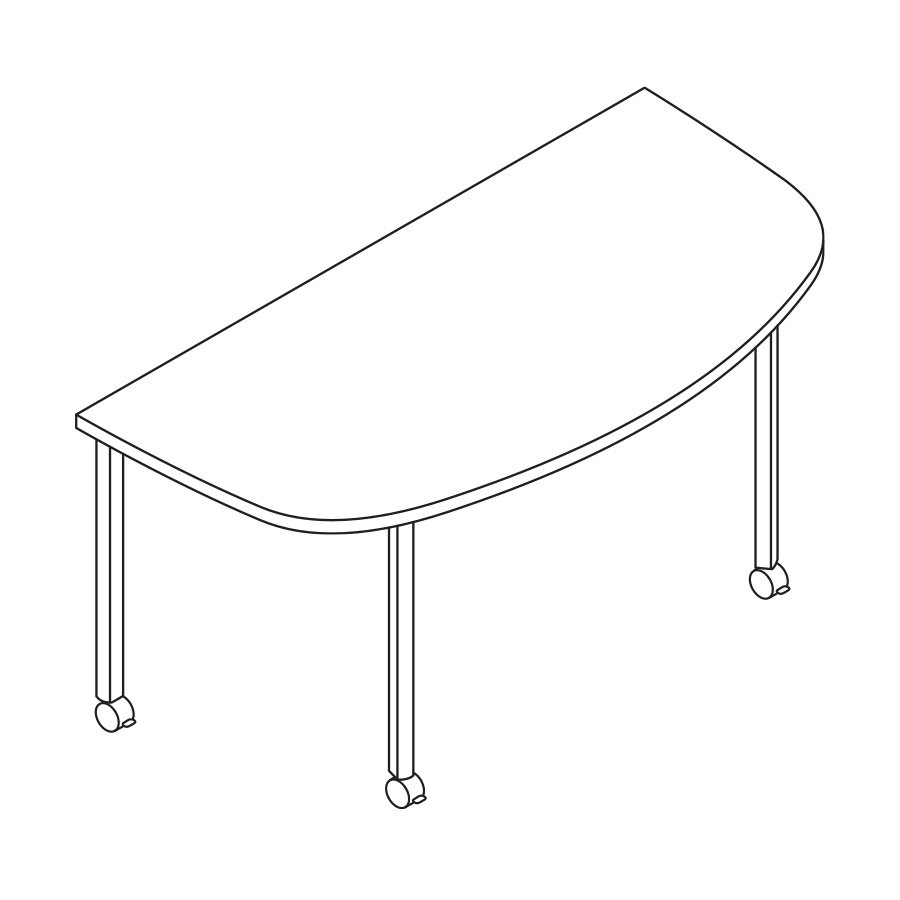 A line drawing of an Everywhere D-Shaped Table.