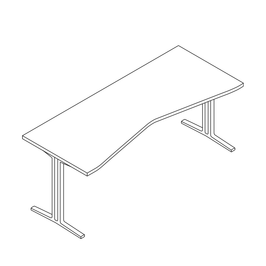 A line drawing of an Everywhere Concave Rectangle Table.