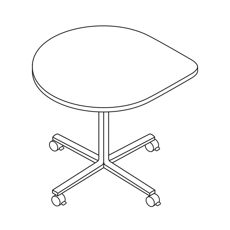 A line drawing of an Everywhere Teardrop Table.