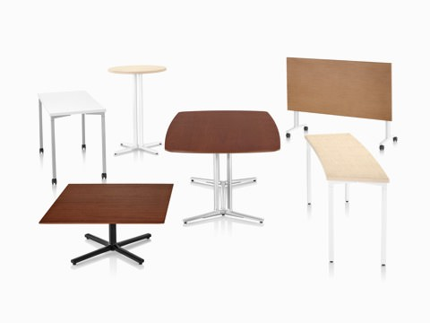 Six Everywhere Tables in a variety of top shapes, base styles, heights and finishes.