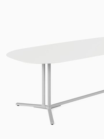 White oval Everywhere Table with grey legs. Select to go to the Everywhere Tables product page.