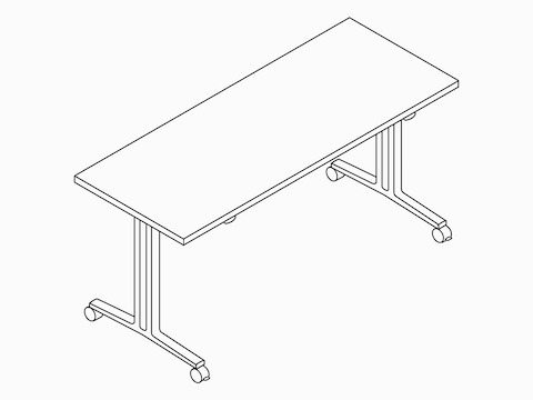 A line drawing of an Everywhere flip-top, rectangular table.