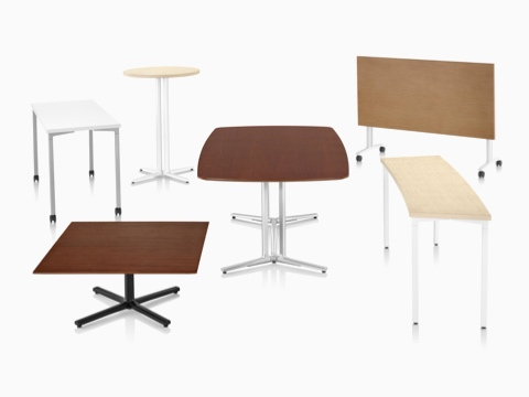 Six Everywhere Tables in a variety of top shapes, base styles, heights, and finishes.