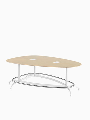 A teardrop-shaped Exclave conference table.