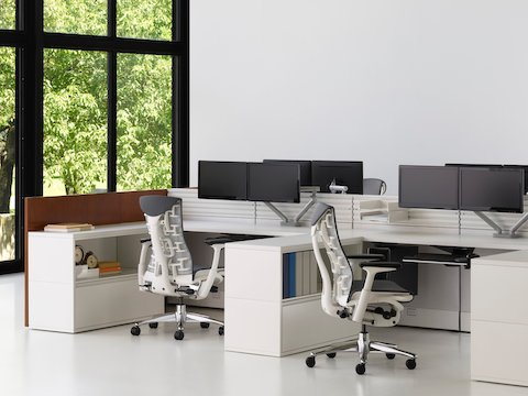 A pair of dual surface-mounted Flo Monitor Arms in adjacent workstations featuring black Embody office chairs.