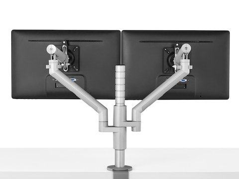Rear view of two monitors attached to a Flo Modular Monitor Arm.