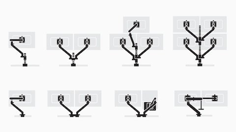 Eight illustrations showing multiple configurations of Flo Monitor Arms.