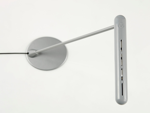 Overhead view of a silver Flute Personal Light.