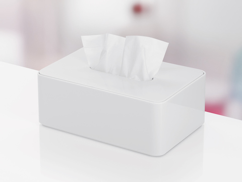 A white Formwork Tissue Box with a tissue protruding.