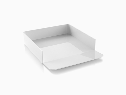 Angled view of a white Formwork Paper Tray with a gently sloped lip.