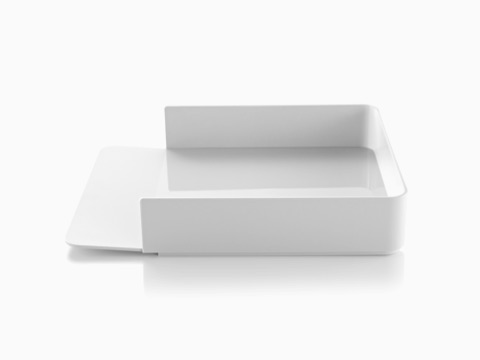 Profile view of a white Formwork Paper Tray with a gently sloped lip.
