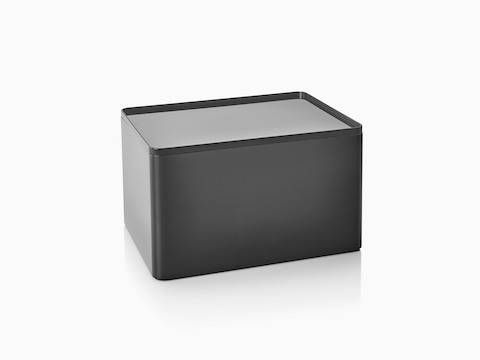 A black Formwork Tall Bin with a liner used as a lid.