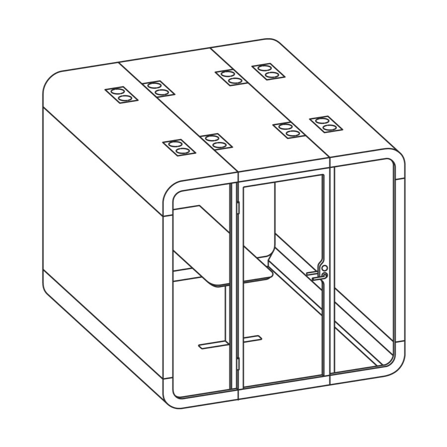 A line drawing of a Framery 2Q Office Pod with a rectangular table inside.