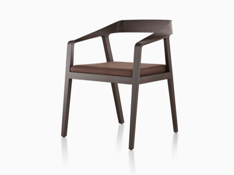 Full Twist Guest Chair with a dark finish and brown seat pad, viewed from a 45-degree angle.
