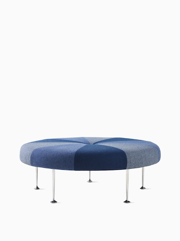 Girard Color Wheel Ottoman in blue, white, and gray.