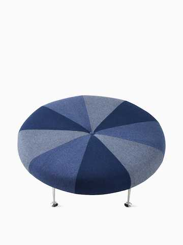 Girard Color Wheel Ottoman in blue, white, and gray. Select to go to the Girard Color Wheel Ottoman product page.