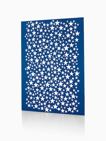 A Girard Environmental Enrichment Panel featuring a silkscreen image of white stars on a blue background.