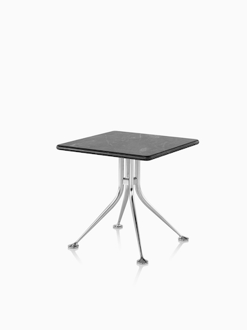 A square Girard Splayed Leg Table with a black top. Select to go to the Girard Splayed Leg Table product page.