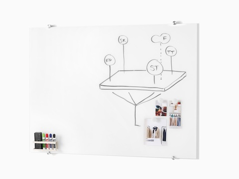 Glass White Board with brainstorming sketches on it and reference images attached by magnets.