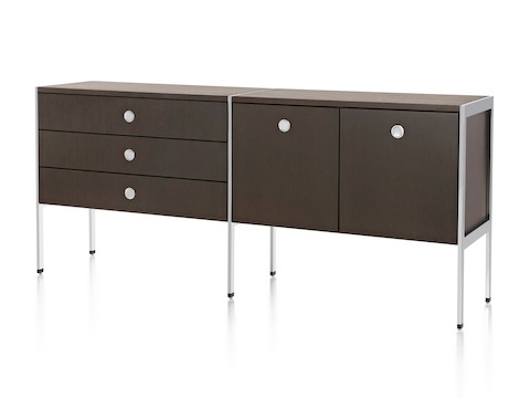 Angled view of an H Frame Credenza consisting of three drawers and two storage cases.