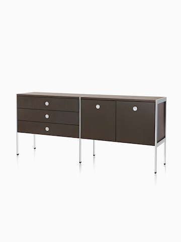 A door and drawer H Frame Credenza. Select to go to the H Frame Credenzas product page.