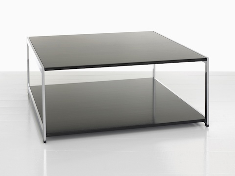 A rectangular H Frame coffee table with a black top and black lower shelf.
