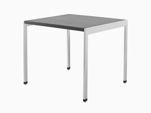 An H Frame side table with a black top.