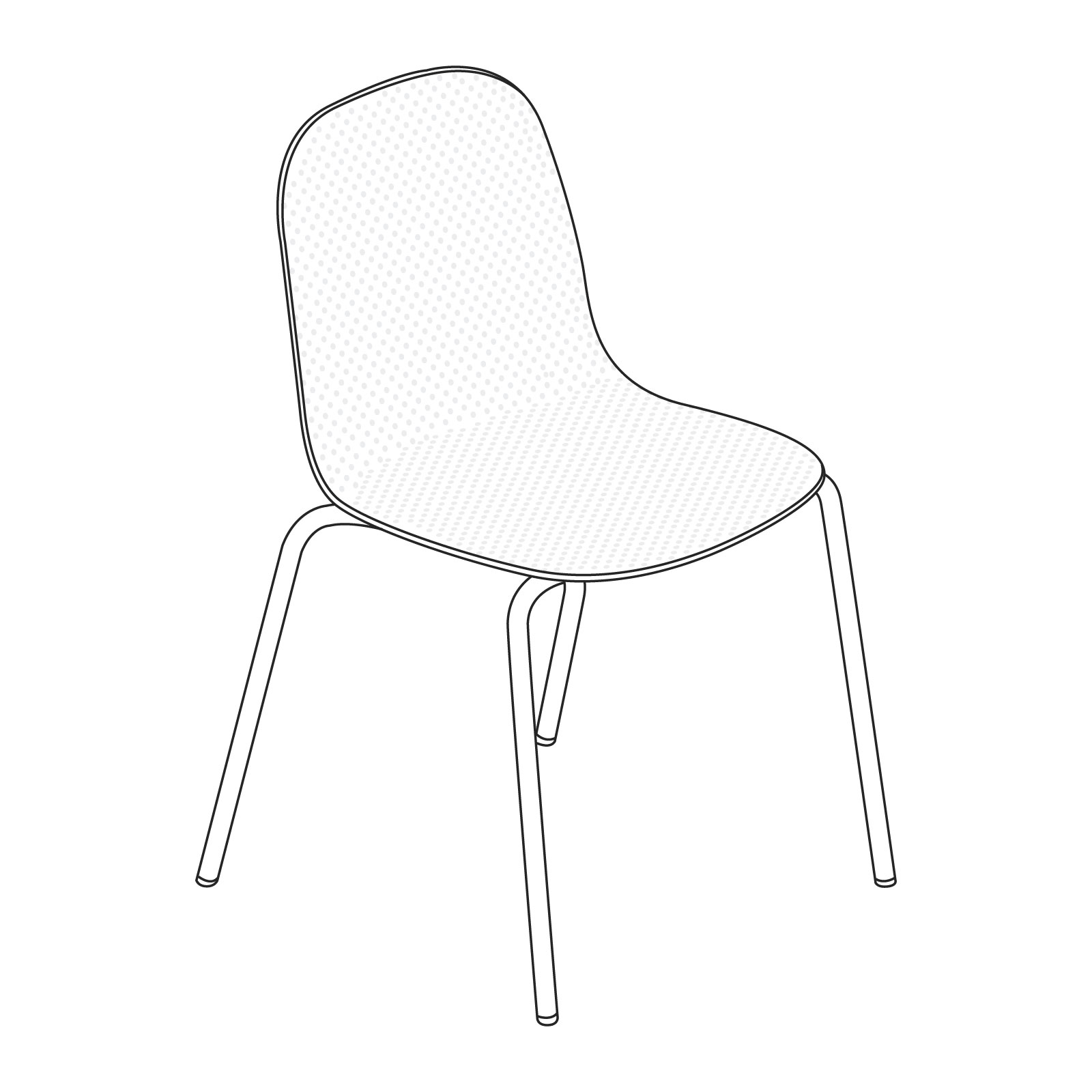 A line drawing of 13Eighty Chair–Armless.