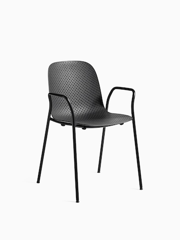 Black 13Eighty Chair with arms, viewed at an angle.
