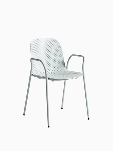 Light blue 13Eighty Chair with arms, viewed at an angle.
