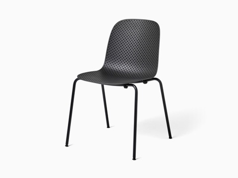 An all black 13Eighty Chair, viewed at an angle.