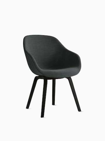 Gray upholstered About A Chair with white 4-star base, viewed at an angle.