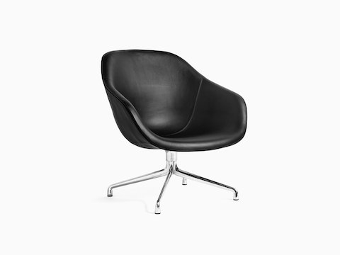 Black, 4-star base About A Lounge Chair, viewed at an angle.