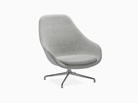 Gray About A Lounge Chair with 4-star metal base, viewed at an angle.