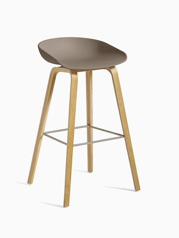 Brown About A Stool with wooden base, viewed at an angle.