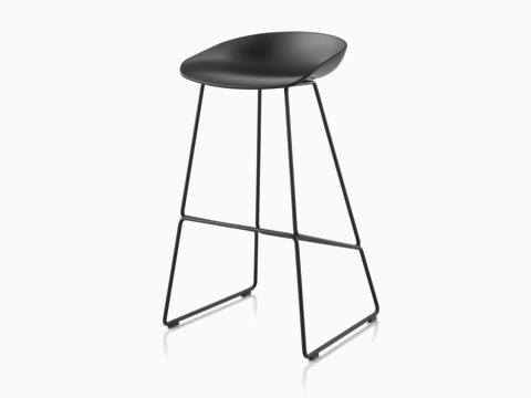 Black About A Stool with black metal base, viewed at an angle.