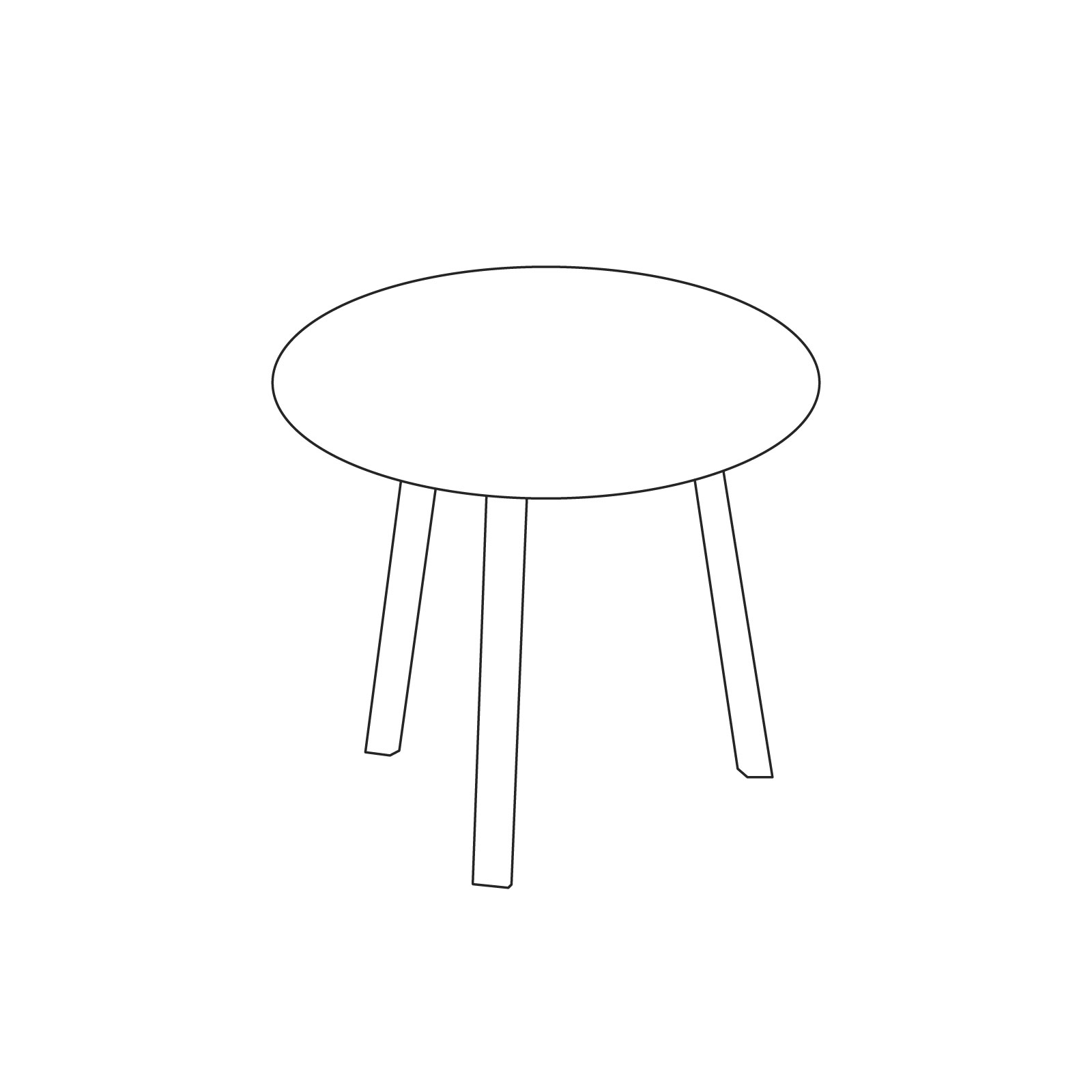 A line drawing of Bella Coffee Table–High.