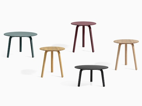 Group of Bella Coffee and Side Tables in various colors, viewed from the front.
