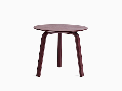 Dark red Bella Side Table, viewed from the front.