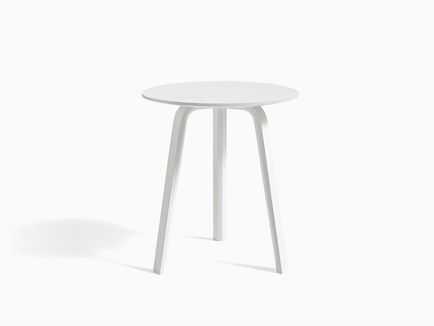White Bella Side Table, viewed from the front.