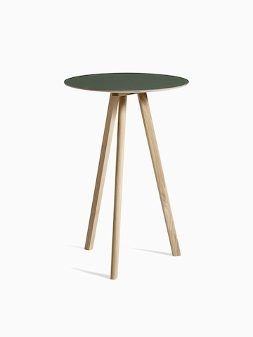 Green Copenhague Bistro Table with wooden legs, viewed at an angle.