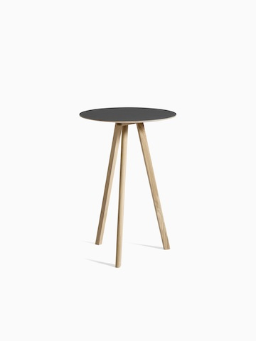 Black Copenhague Bistro Table with hover image as black with wooden legs. Select to go to the Copenhague Bistro Table product page.