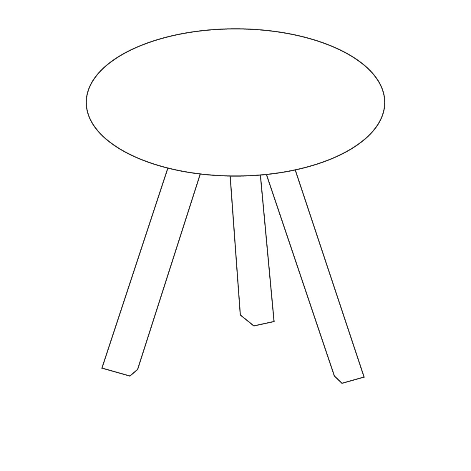 A line drawing of Copenhague Side Table–Round.