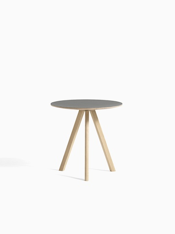 gray Copenhague Side Table with wooden legs, viewed from the front.