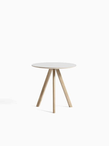 Off-white Copenhague Side Table with wooden legs, viewed from the front.