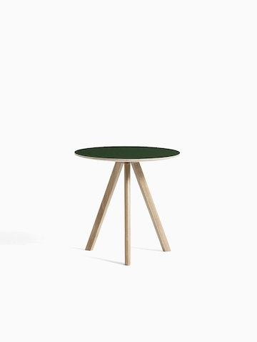Green Copenhague Side Table with wooden legs, viewed from the front.